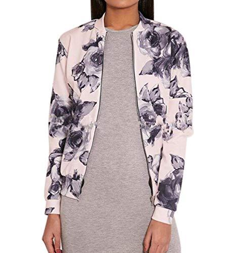 Stampa Marca Di Primavera Vintage Rosa Giubbino Mode Stampati Giacca Eleganti Fiore Giacche Cappotto Donna Sciolto Grazioso Autunno qYwR70