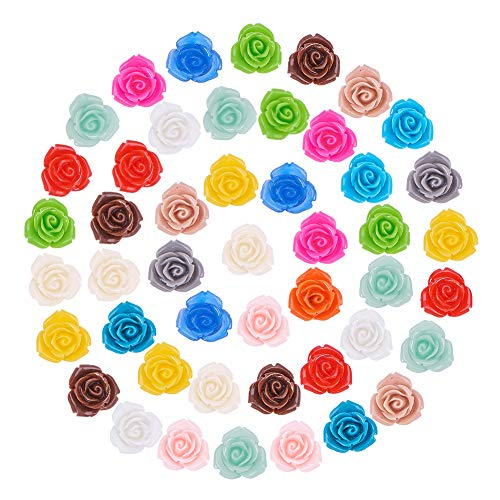 PH PandaHall 150 Pieces 15 Color Resin Flower Embellishments Jewelry Making Findings Craft DIY Hairpin Headwear/Phone/Scrapbooking -