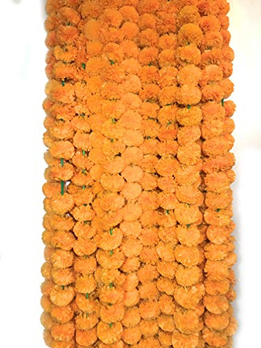 Marigold Flower - 5 Pack Artificial Orange Marigold Flower Garlands 5 ft Long- for use in Parties, Celebrations, Indian Weddings, Indian Themed Event, Decorations, House Warming, Photo Prop, Diwali, Ganesh Fest