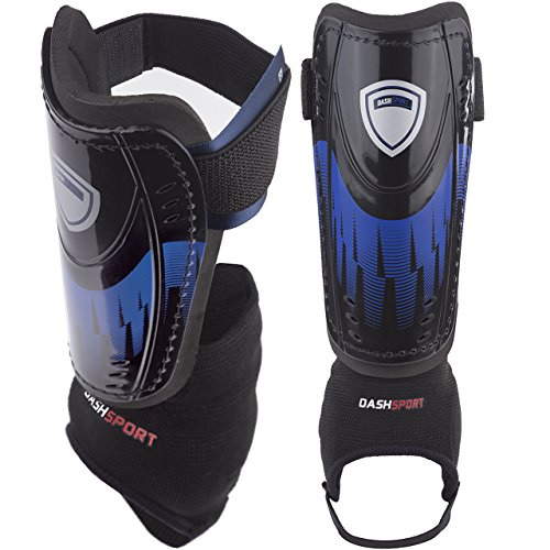 DashSport Soccer Shin Guards -Youth Sizes Best Kids Soccer Equipment with Ankle Sleeves - Great for...