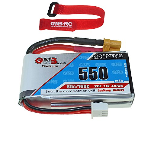 GNB 550mAh 2S 7.4V 80C Lipo Battery with XT30 Micro FPV Plug for RC Racing Drone with Battery Strap
