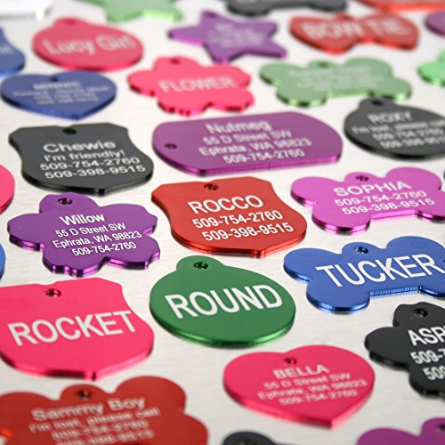 Image of Premium Custom Engraved Pet ID Tags for Dogs & Cats - Personalized on Front & Back, Sizes & Shapes. Bright, Durable Anodized Aluminum.