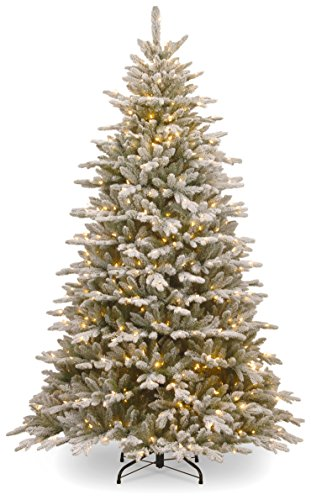 National Tree 7.5 Foot Feel Real Snowy Sierra Spruce Tree with 750 Clear Lights, Hinged (PESIF-300-75) -  ADULT