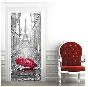Imitation 3D door stickers Bedroom door sticker wooden door stickers Paris Eiffel Tower waterproof self-adhesive door sticker