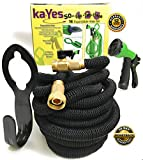 kaYes Expandable Hose Kink Tangle Free - Garden Hose Storage Hanger Lawn Spray Nozzle 3 Pc Set Solid Copper Brass Fittings Steel Clamp Strong Flexible Expanding Gardening Hose Auto Lawn Plant Watering