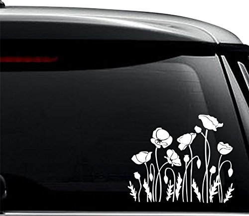 Poppy Flowers Decal Sticker For Use On Laptop, Helmet, Car, Truck, Motorcycle, Windows, Bumper, Wall, and Decor Size- [8 inch] / [20 cm] Wide / Color- Gloss White