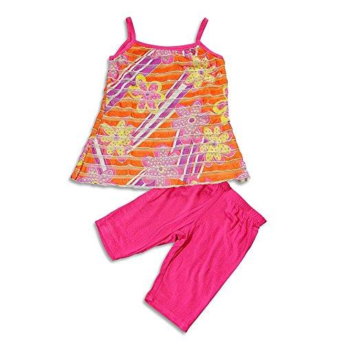 Me Me Me by Lipstik - Little Girls's Tunic Short Set, Orange, Fuchsia 22454-6X - Lipstik Girls Clothes