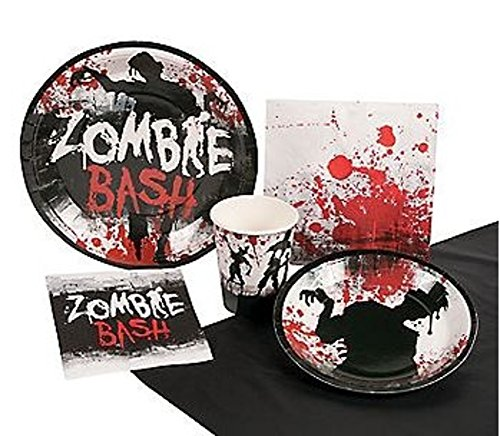 [Zombie Bash Party Pack for Halloween or other occasions! Includes Napkins, Plates, Cups, Tablecloth Cover and GREAT] (Zombie Costume Ideas For Adults)