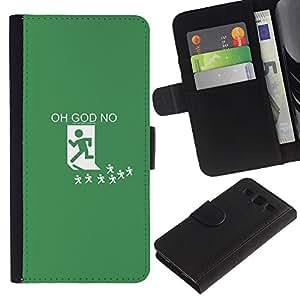 KLONGSHOP // Tirón de la caja Cartera de cuero con ranuras para tarjetas - Oh Dios No - Samsung Galaxy S3 III I9300 //