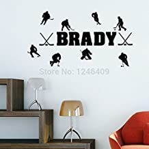 New Arrival Custom-made Personalized Name Match of Ice Hockey Wall Stickers Home Decor Vinyl Decal for Living Room-You choose name&color
