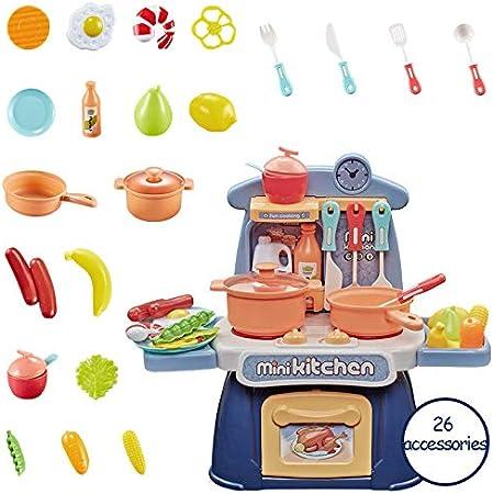 LYing Simulador de 26PCS para niños, Utensilios de Cocina de luz y Sonido, pequeños Cubiertos, Mesa de Juego, Mini-Cocina, Juego de Juguetes.: Amazon.es: Hogar