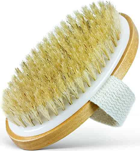 Dry Skin Body Brush - 100% Natural Bristles - Cellulite Treatment, Increase Circulation and Tighten Skin. (Pack of 1)