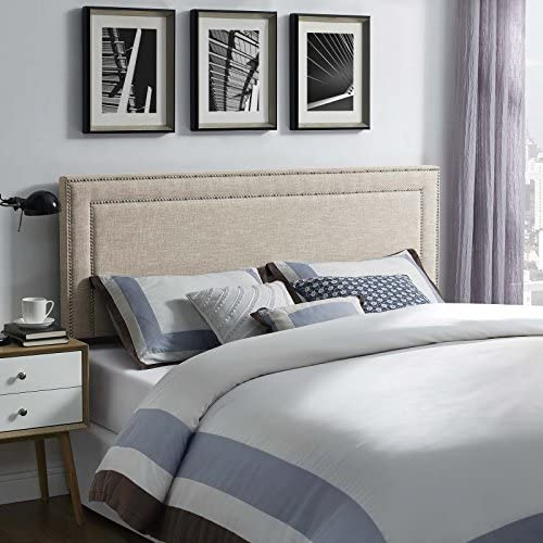 Modway Jessamine Upholstered Fabric Headboard with Nailhead Trim, Queen, Beige
