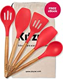 Silicone Cooking Utensils Non Stick- For All Your Cooking And Serving Needs - Stylish Multipurpose Kitchen Utensil Set with Comfortable Acacia Wooden Handles and Red Silicone Heads In Canvas Bag