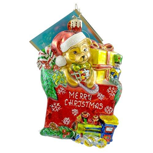 - Christopher Radko TOYLAND TREASURES Blown Glass Ornament Teddy Bear Santa