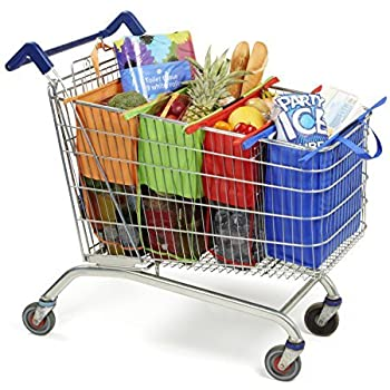 Cart Bags for Trolley Pack Of 4 with Insulated Cooler Bag - Eco Friendly Reusable Grocery Bags Perfect For Shopping Carts - Detachable, Foldable & Reusable!