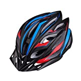 Cheap MATMO Bicycle Helmet Integrated Mountain Bike Helmet Cycling Helmet with LED Light (Black Red Blue)