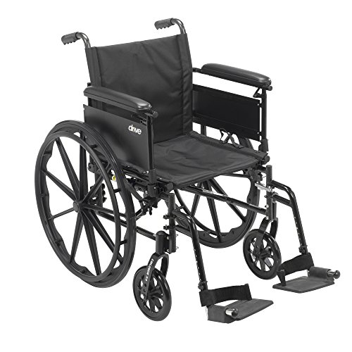 Drive Medical Cruiser X4 Lightweight Dual Axle Wheelchair with Adjustable Detachable Arms, Full Arms, Swing Away Footrests, 18
