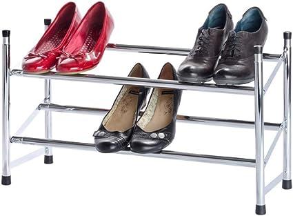 Wenko Estanter/ía para Zapatos Extensible Plateado 23x119x35 cm Cromo