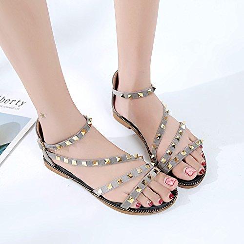 Estilo Plano Verano YMFIE de Calzado Antideslizante Nuevo Toe gray Sandalias Simple Playa Fondo Toe de Cómodo Mujer Moda qwqFrOndE