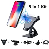 Wireless Car Charger Kit, CoolHoppe Fast Car Mount Charger, 5 in 1 Adjustable Gravity Air Vent Phone Holders for iPhone X, iPhone 8, iphone 8 Plus Galaxy Note 8, S8, S8+, S7, S7 edge and Qi Devices …