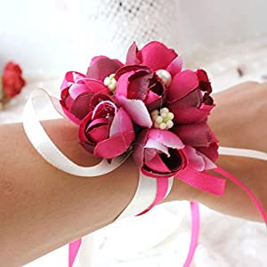 Pack of 4,Dofover Girl Bridesmaid Wedding Wrist Corsage Hand Flowers Décor,Party Prom Wedding Bouquet Decoration 50