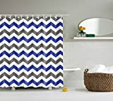 DOTZ Chevron Shower Curtain - Unique Grey and White Pattern
