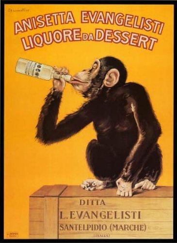Anisetta Evangelisti Liquore Da Dessert by Carlo Biscaretti. Vintage Advertising Reproduction Poster (24 x - Dessert Liquore Da