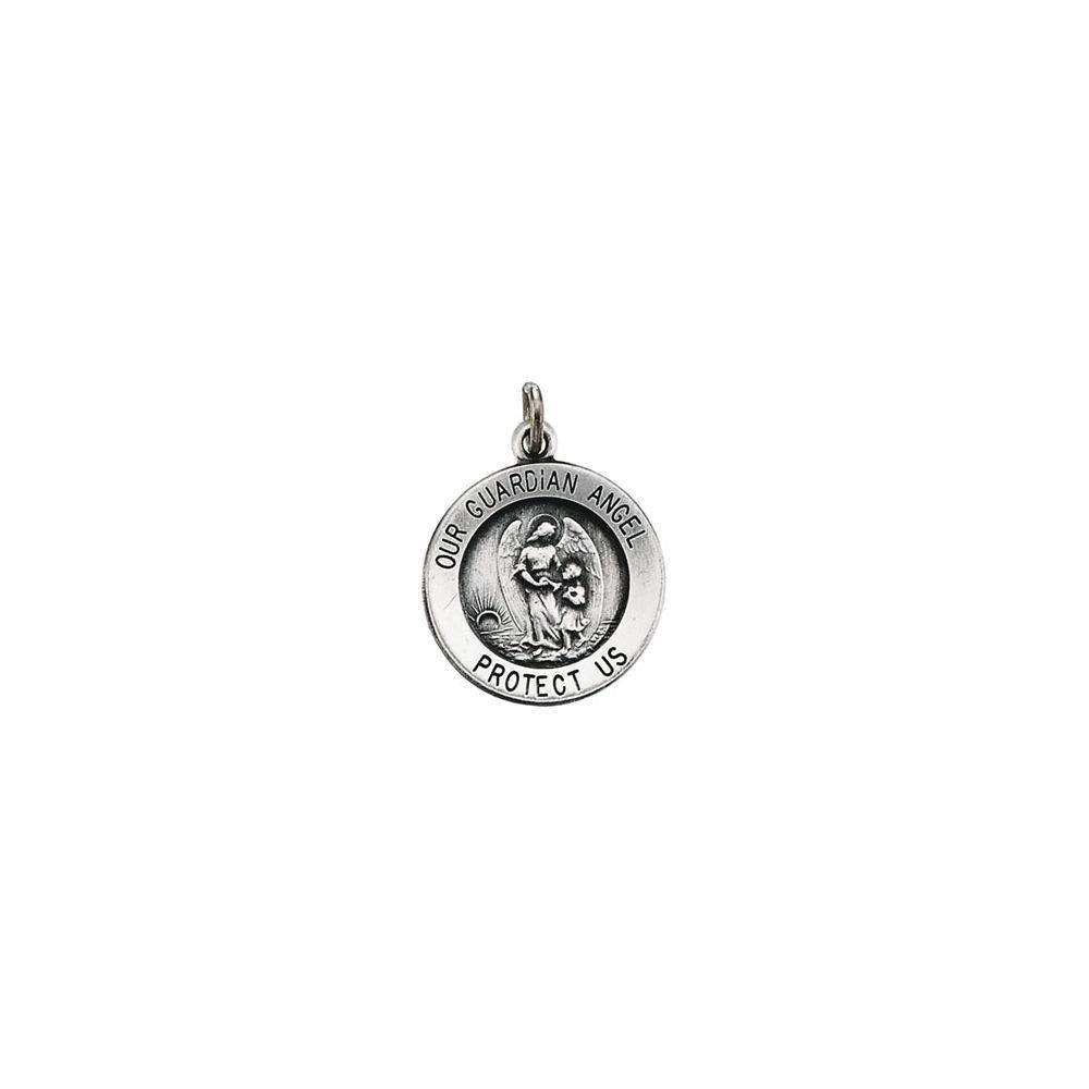 14K White Gold 15mm Guardian Angel Medal