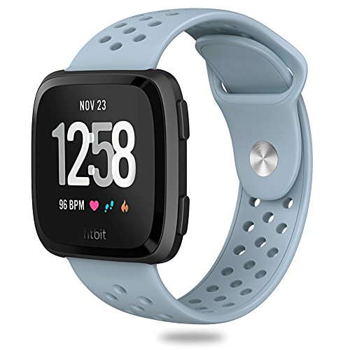 Hagibis Compatible Fitbit Versa Bands Sport Silicone Replacement Breathable Strap Bands New Fitbit Versa Smart Fitness Watch (Light Blue)