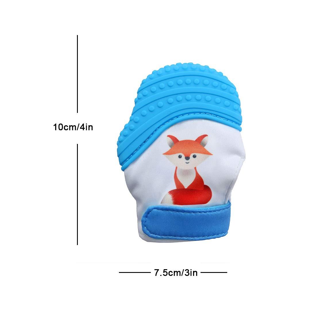 VIVO SUN Moufle Mitaine de dentition en silicone pour bébé gant de dentiton jouet dentition apaisante renard mignon-Bleu