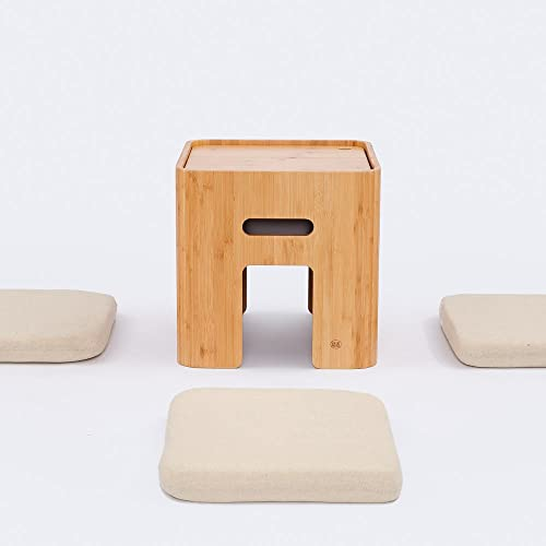 Small Storage Ottoman with 4 Cushions Coffee Table Tatami Tea Table Bamboo Stool Living Room Furniture