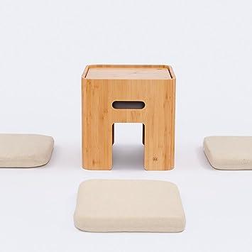 Tatamis de Bambou Zen Tabouret Bambou Table de Salon avec 4 Coussins ...