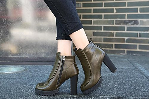 KHSKX-The Green Martin Boots Winter New Round Head Waterproof Console Side Zippers Heavy With 10Cm High-Heeled Boots And Bare Boots Female Boots 34