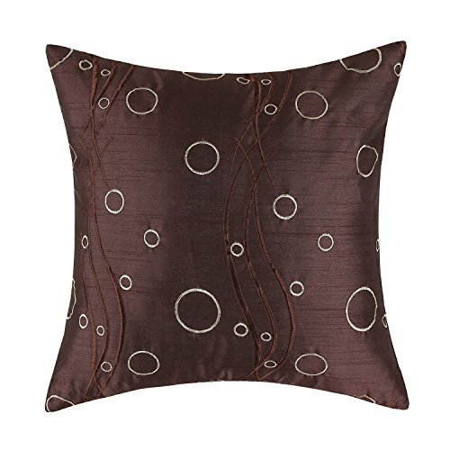Euphoria CaliTime Cushion Cover Throw Pillow Case Shell 18 X 18 Inches, Brown Ground Waves Circles Rings Embroidered