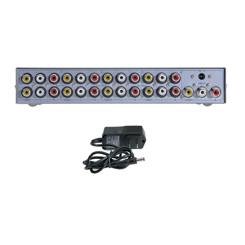 DTECH Powered 8 Port 3 RCA Splitter Box Support 1 in 8 out Audio Video Distribution Amplifier by DTech