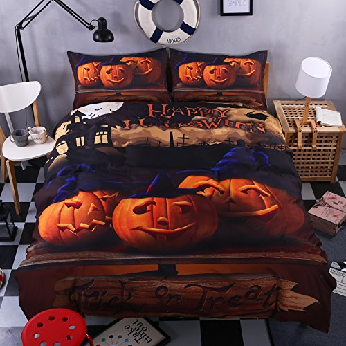 KTLRR Halloween Bedding Set Gift 3D Print Zombies Duvet Cover Set Twin/Full/Queen/King Size 4-Piece Festival Decoration Bedding (Twin, Pattern#01)
