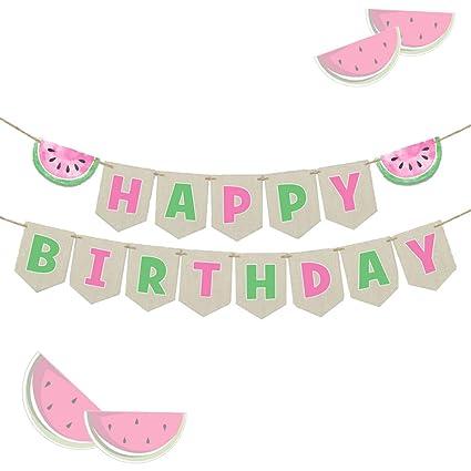 Amazon.com: LaVenty - Bandera de sandía para cumpleaños ...
