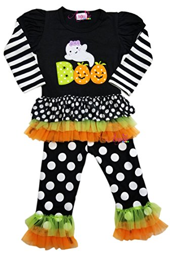 Little Girls Halloween Boo Ghost Tiered Ruffles White