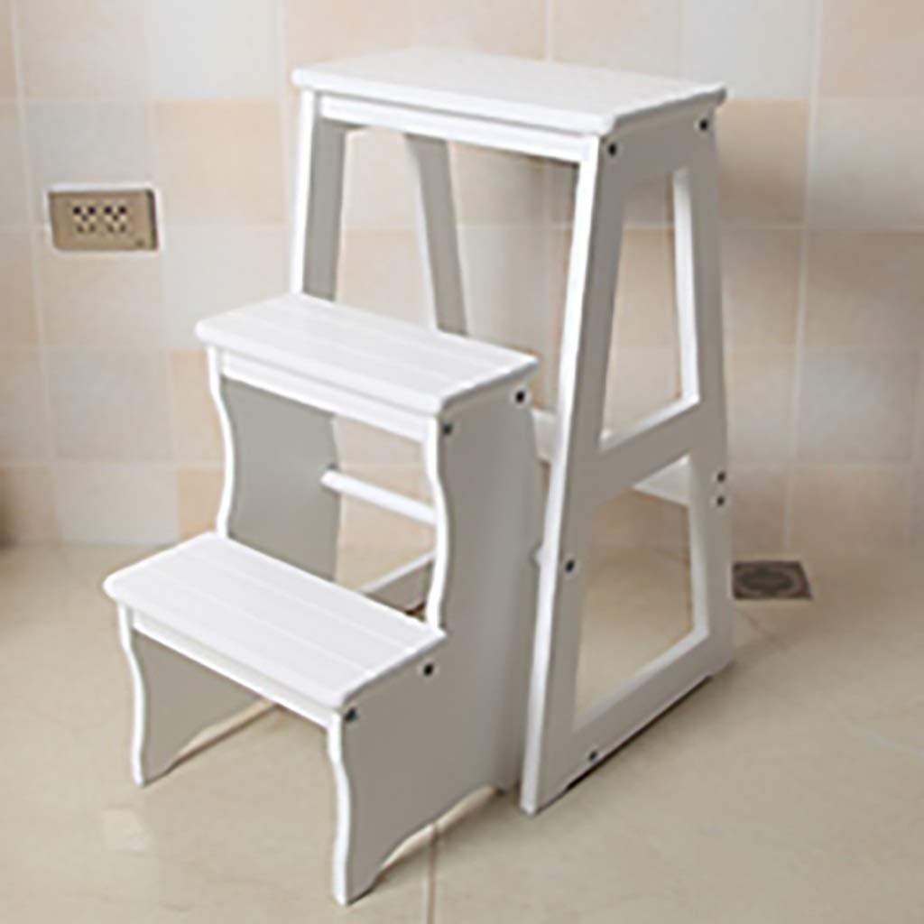 White ZHILIAN& 3-Layer Solid Wood Climbing Ladder Multi-Function Folding Stool Footstool Reading Stool Home Small Stair Rack (color   White)