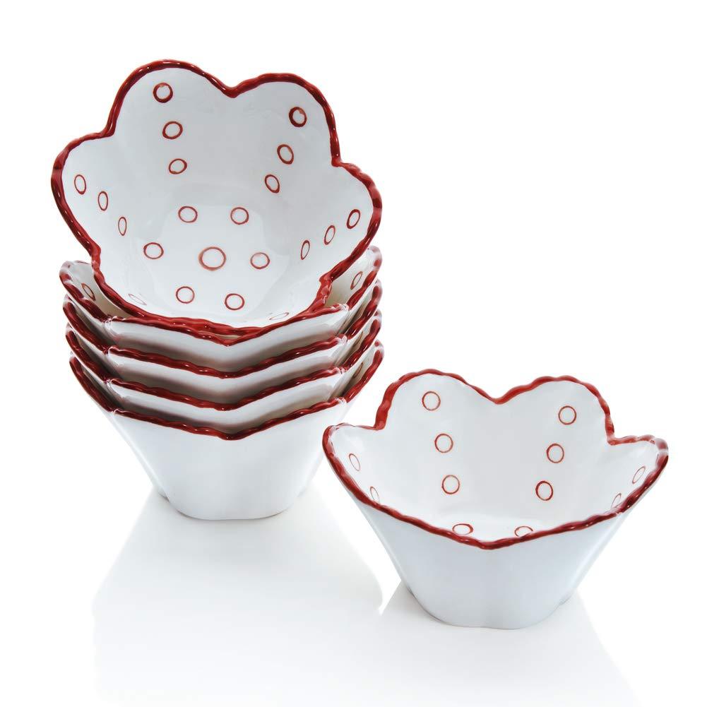 Hoomeet 4 oz Porcelain Ramekins, Dessert Bowls, Ice Cream Bowls, Snack Bowls, Dipping Bowls, Set of 6, Flower Shaped. (Red Dots)
