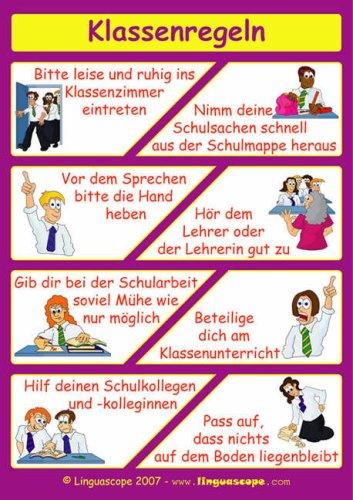 Klassenregeln grundschule bildkarten  German Poster (