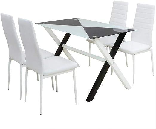 Conjunto mesas y sillas de comedor cinco piezas cuero sint ...