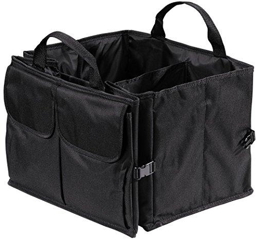 Hama Auto Kofferraumtasche mit Klett, Einkaufstasche faltbar, groß (53 x 38,5 x 27 cm) schwarz