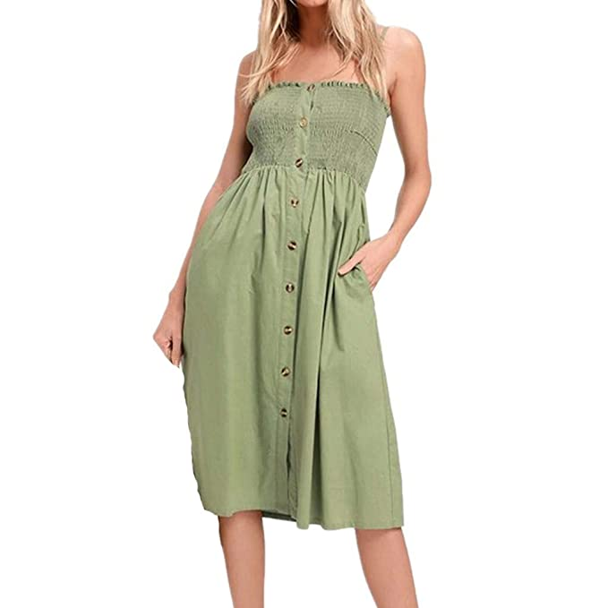 cb106bf200e24 MOSERIAN Fashion Button Womens Dress Off Shoulder Lace Up Sleeveless Dress  Green