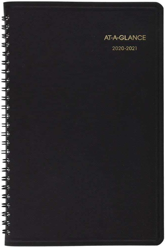 "Academic Planner 2020-2021, AT-A-GLANCE Weekly Appointment Book, 8-1/4"" x 11"", Large, Black (7095705)"