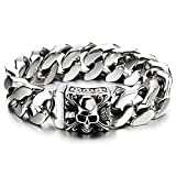 Mens Large Stainless Steel Curb Chain Bracelet with Fleur De Lis and Skull, Biker Gothic, Polished
