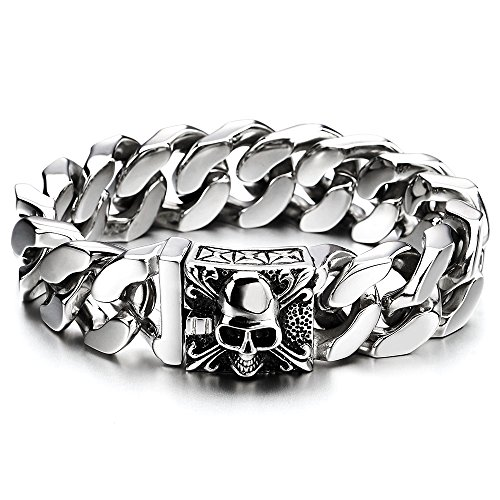Mens Large Stainless Steel Curb Chain Bracelet with Fleur De Lis and Skull, Biker Gothic, - Steel New Bracelet Mens Stainless