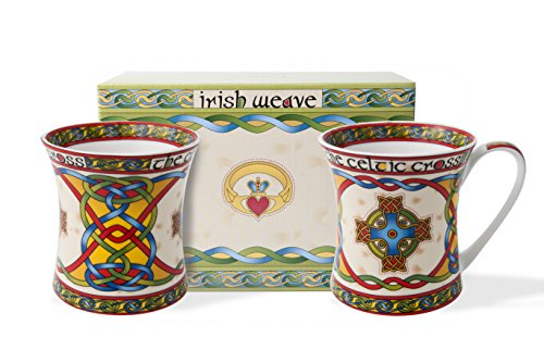 (Irish Celtic Cross 11oz Cup Set -Irish Weave in a Matching Gift Box)