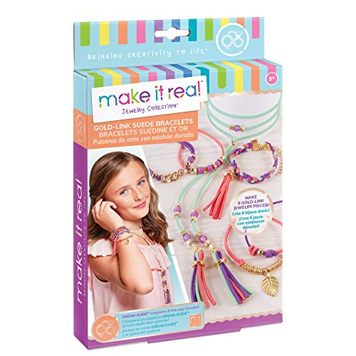 Make It Real - Gold Link Suede Bracelets. DIY Suede Bracelet & Choker Making Kit for Girls. Arts and Crafts Kit to Design and Create Unique Tween Jewelry with Faux Suede, Beads, Gold Pieces & Charms ()